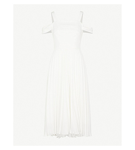 WHISTLES Clementine cold-shoulder pleated wedding dress (Cream