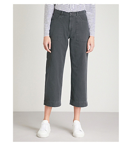 WHISTLES High-rise straight-leg cropped cotton-twill utility trousers (Grey