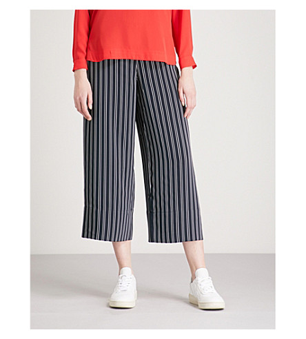 WHISTLES Striped wide-leg cropped woven trousers (Navy