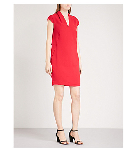 WHISTLES Paige V-neck crepe dress (Red