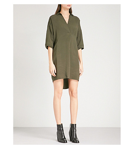 WHISTLES Lola woven mini dress (Khaki/olive