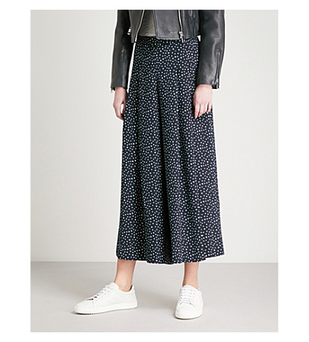 WHISTLES Tulip-print wide crepe trousers (Multi-coloured