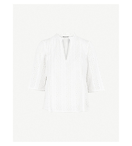 WHISTLES Isidora broderie-anglaise top (White