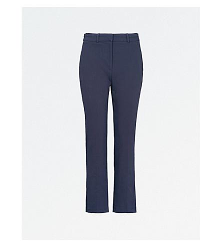 WHISTLES Sadie slim-fit cotton-blend trousers (Navy