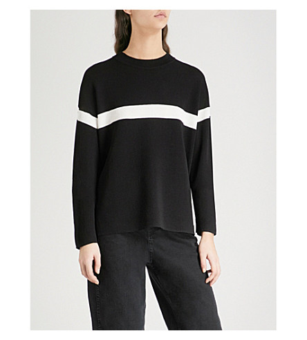 WHISTLES Striped waffle-knit jumper (Black