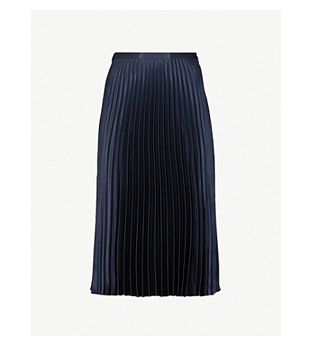 WHISTLES Pleated satin skirt (Navy