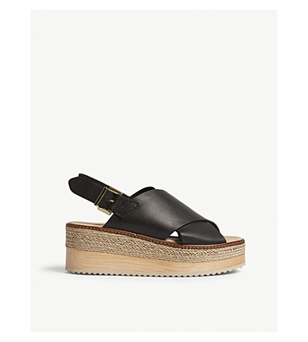 WHISTLES Rafi leather flatform sandals (Black