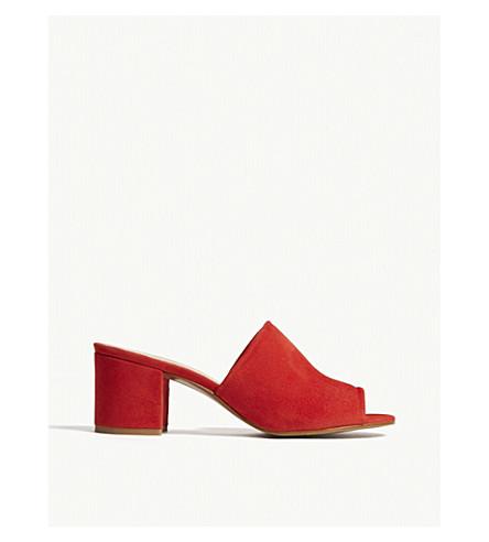 WHISTLES Amberley suede heeled mule sandals (Red