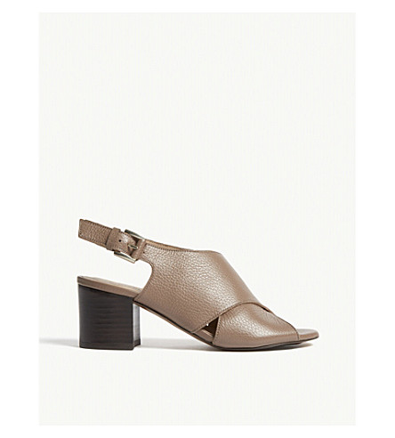 WHISTLES Alexis grained leather sandals (Tan