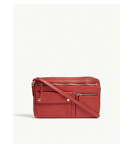 WHISTLES Albion pebbled leather cross-body bag (Red