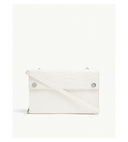 WHISTLES Aubry croc-embossed leather cross-body bag (White