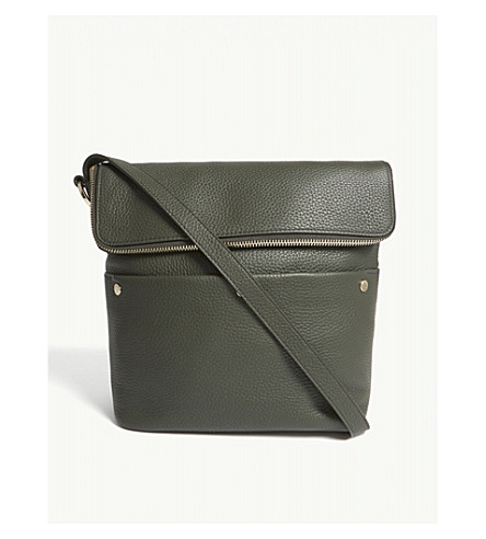 WHISTLES Cara stud pebbled leather shoulder bag (Khaki/olive