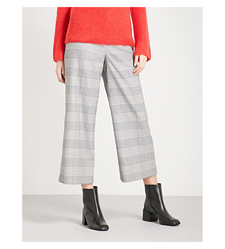 WHISTLES Checked wide-leg woven trousers (Grey