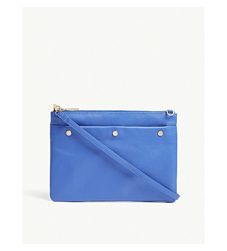 WHISTLES Aldgate studded leather cross-body bag (Blue