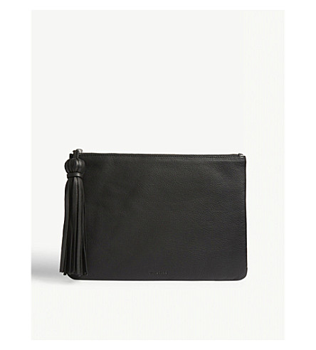 WHISTLES Supersoft leather tassel pouch (Black
