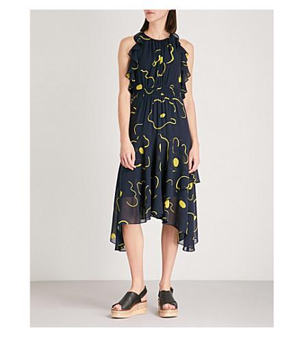 WHISTLES Anne magnolia print dress (Black