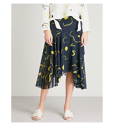 WHISTLES Billie Magnolia print chiffon midi skirt (Black