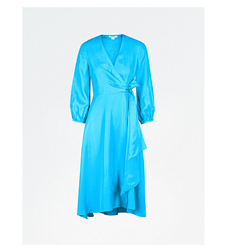 WHISTLES Callie silk-twill midi wrap dress (Turquoise