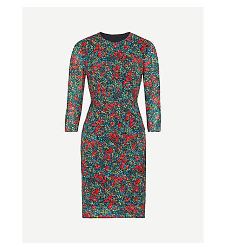 WHISTLES Lottie stretch-silk bodycon dress (Multi-coloured