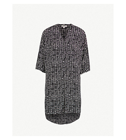WHISTLES Lola Sahara-print woven dress (Black