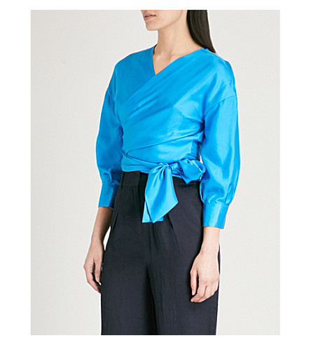 WHISTLES Serena silk-twill wrap top (Turquoise