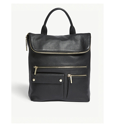 WHISTLES Farrow pebbled leather backpack (Black