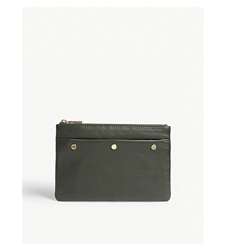 WHISTLES Triple stud medium leather clutch (Khaki/olive