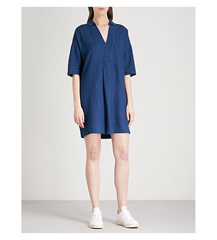 WHISTLES Lea Pocket cotton and linen-blend mini dress (Navy