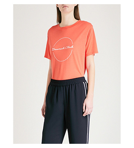 WHISTLES Brunch Club jersey T-shirt (Red