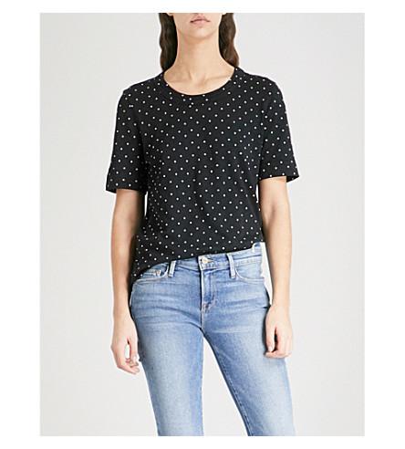 WHISTLES Rosa double-trim cotton-jersey T-shirt (Multi-coloured