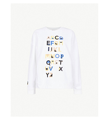 WHISTLES Alphabet embroidered cotton-jersey sweatshirt (Multi-coloured