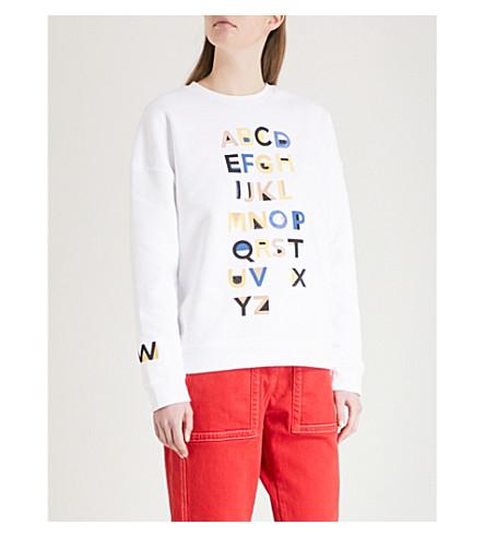 WHISTLES Alphabet embroidered cotton-jersey sweatshirt (Multi-coloured