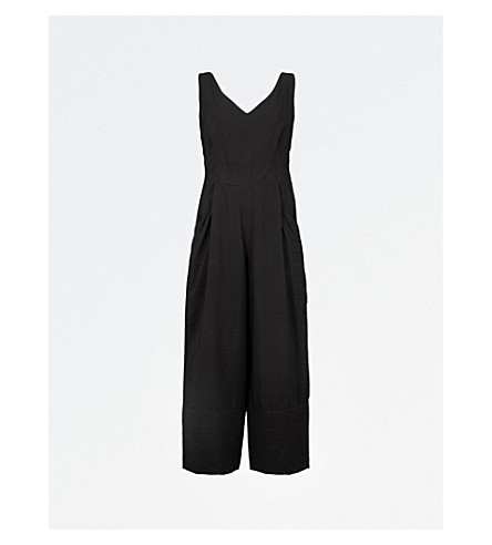 WHISTLES Mara cropped wide-leg woven jumpsuit (Black