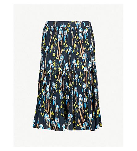 WHISTLES Iris floral-print pleated crepe midi skirt (Black