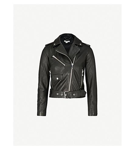 WHISTLES Agnes belted leather biker jacket (Black