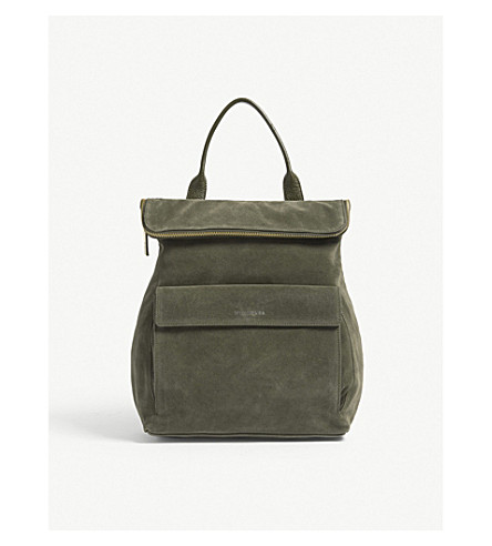 WHISTLES Verity suede and leather backpack (Khaki/olive