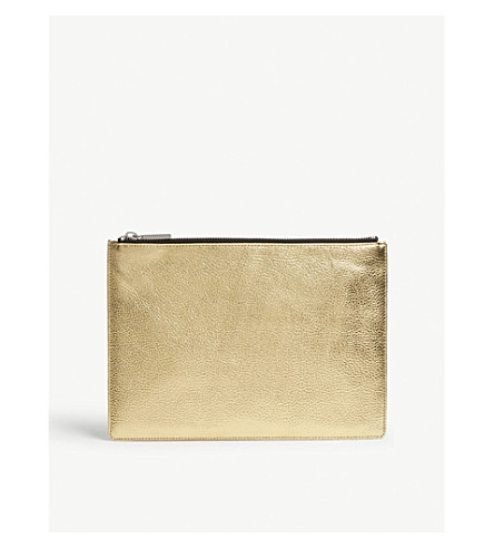 WHISTLES Metallic leather medium clutch (Gold