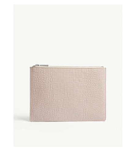 WHISTLES Croc-embossed leather clutch (Nude