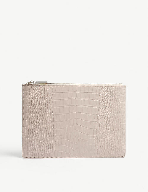 WHISTLES Croc-embossed leather clutch