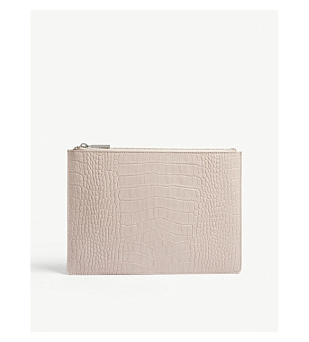 WHISTLES Croc-embossed small leather clutch (Nude