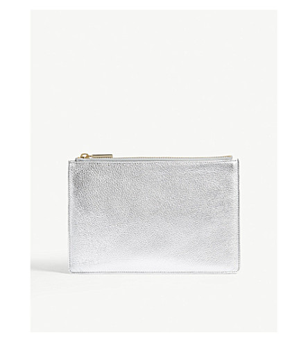 WHISTLES Small metallic finish leather clutch (Silver