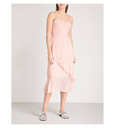 WHISTLES Amber ruffled asymmetric crepe midi dress (Pale+pink