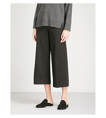 WHISTLES Ponte wide-leg woven trousers (Black