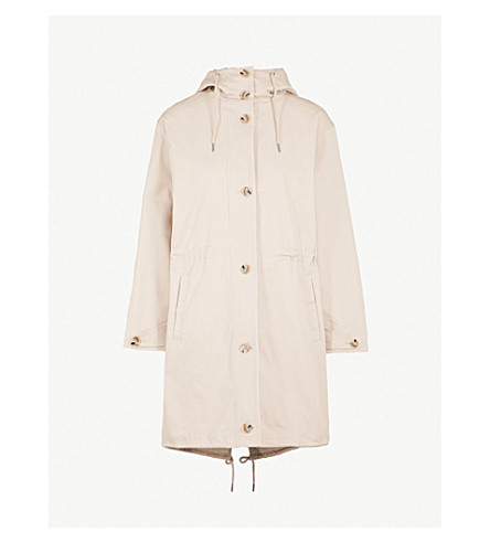 WHISTLES Stretch cotton-twill hooded parka coat (Tan