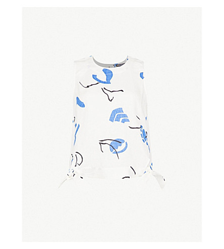 WHISTLES Ally abstract-print linen top (Multi-coloured