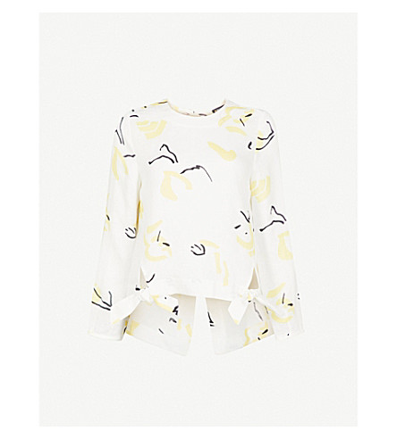 WHISTLES Ada printed tie-back linen top (Multi-coloured