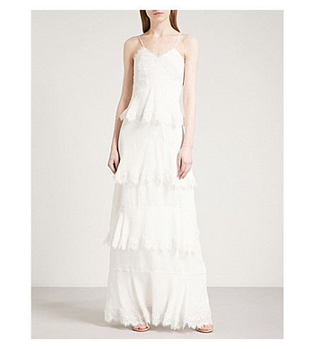 WHISTLES Isla tiered lace-trimmed silk crepe-de-chine wedding dress (Cream