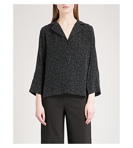 WHISTLES Fleck-print woven pyjama shirt (Monochrome