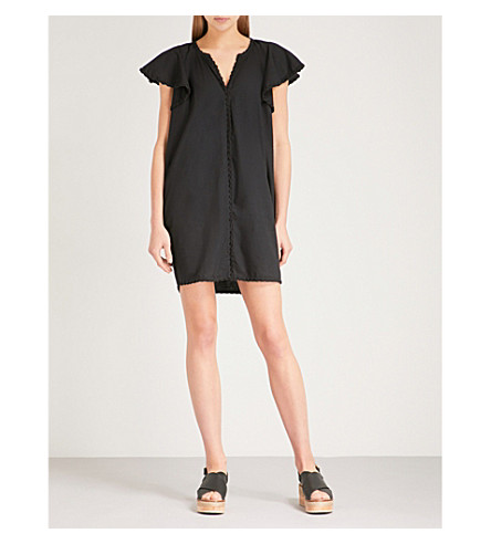 WHISTLES Ruffled cotton cover-up (Black