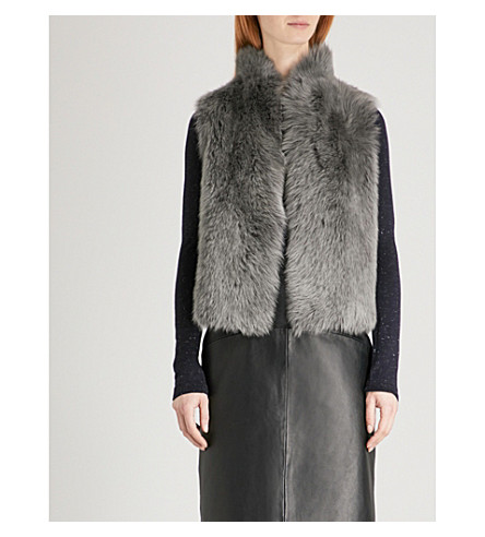 WHISTLES Faux-fur trimmed leather gilet (Grey